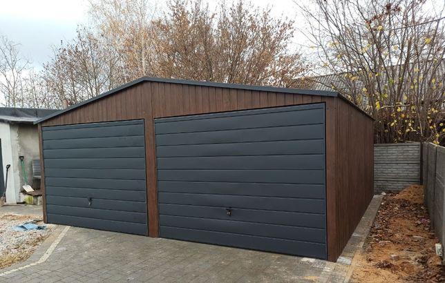 Garaż blaszak 6x5,8 drewnopodobny wzmocniony