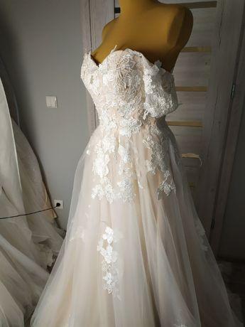 suknia ślubna księżniczka hiszpanka z opadającymi ramiączkami 40 nowa