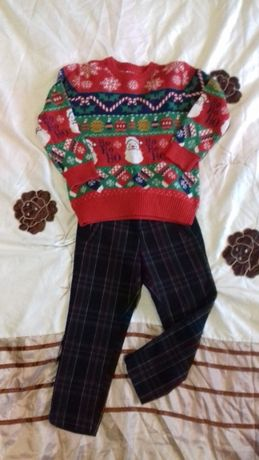 Свитер новогодний Merry Christmas+брюки в подарок
