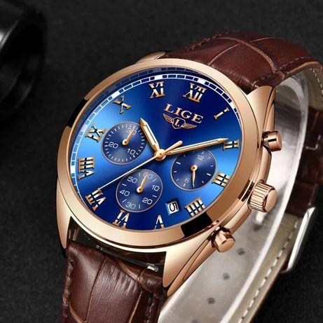 Luksusowy zegarek męski Lige wodoodporny chronograf pasek skóra