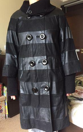 Кожаный женский плащ женское демисезонное пальто