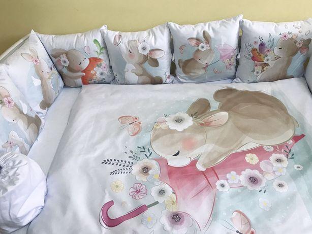 Бортики в ліжечко, дитячий комплект в кроватку, простинь на резинці
