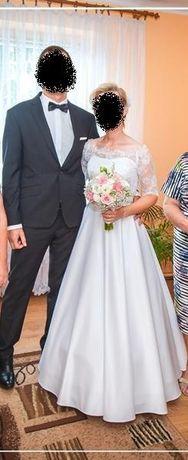Suknia ślubna z koronkową górą - rozm. 36