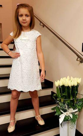 Sukienka dziewczęca biała koronka 122-134cm