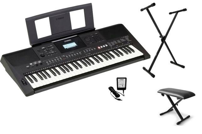 YAMAHA PSR E463 -NOWY- keyboard do nauki Statyw Ławka Kurs gry