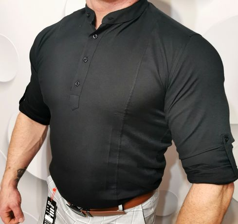 Męska koszula czarna slim fit casual S M L XL XXL
