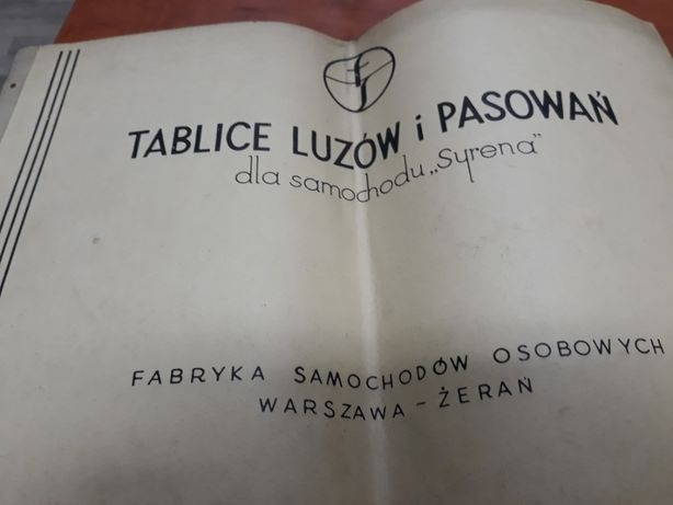 """Tablice Luzó i Pasowań do samochodu """"SYRENA"""""""