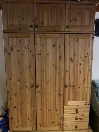 Szafa sosnowa lite drewno w bdb. stanie naturalna, solidna i obszerna