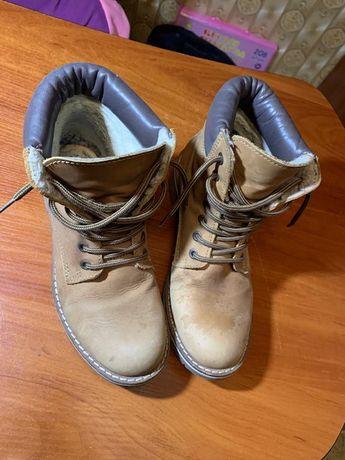 Ботинки бежевые MOP зима осень на мальчика раз 37 по стельке 24 см