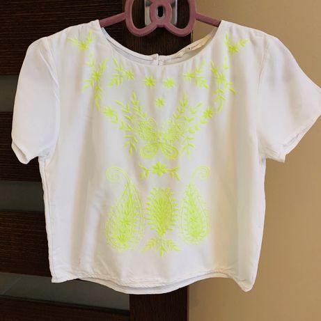 H&M Biała bluzka haftowana boho 152 11,12L