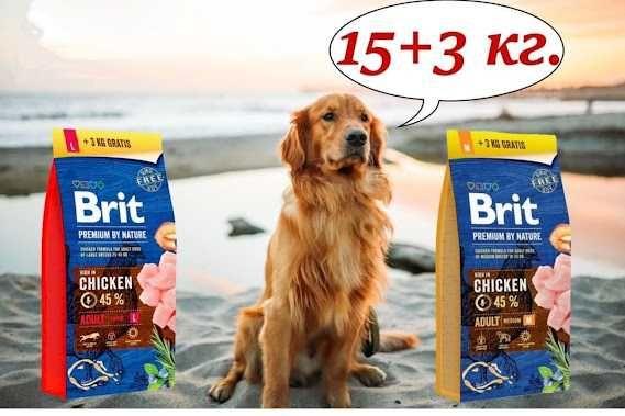 Brit Premium Dog Adult M и L 15+3 кг Брит АКЦИЯ!!! +3кг в подарок