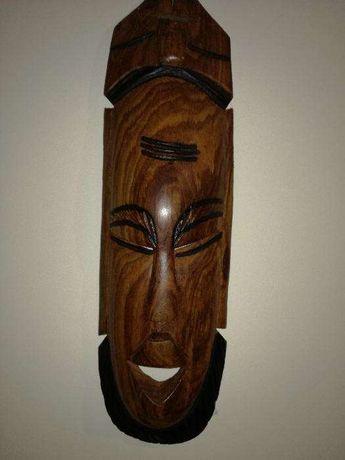 4 Caras Africanas esculpidas em madeira antigas