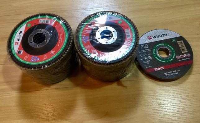 Lote de discos de rebarbar e corte Wurth diâmetro 115