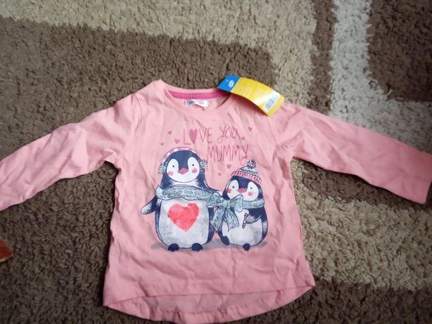 Bluzka z pingwinkami różowa Pepco 80 dziewczynka