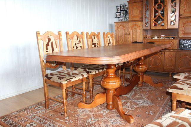 Stylowy Duży Stół Rozkładany + 10 Krzeseł