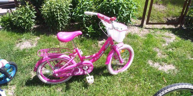 Rower 16 mexller dla dziewczynki kółka boczne i kijek do rowerka