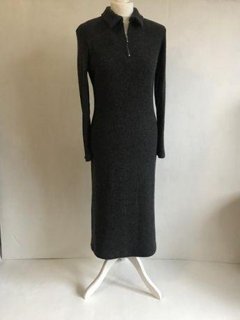 Тёплое шерстяное платье миди 80% шерсть