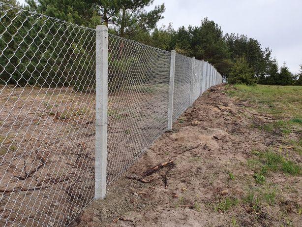 Siatka ogrodzeniowa słupek betonowy ogrodzenie z siatki Leśna lesnej