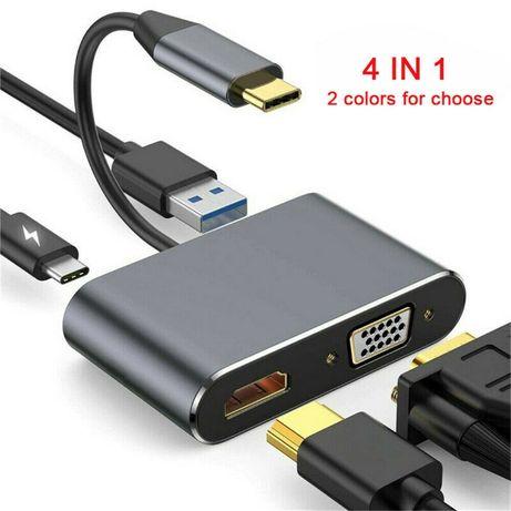 Adaptador USB tipo C para HDMI VGA USB USB-C PD 4 em 1