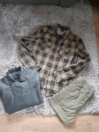 Zestaw kurtka reserved 170 koszula 164 spodnie 164 khaki czarna skóra
