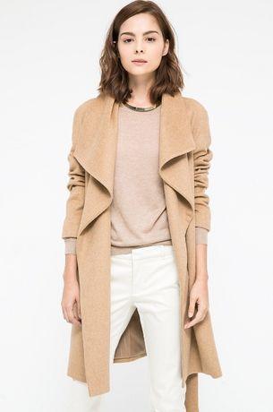 MANGO nowy wełniany płaszcz wełna camel z klapami M 38