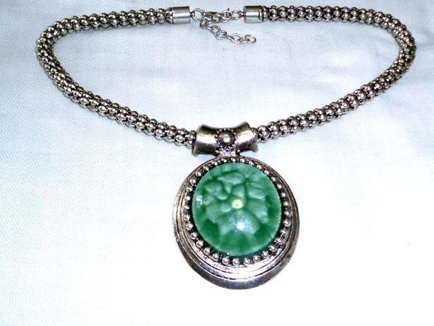 Naszyjnik kolia zielony srebrny