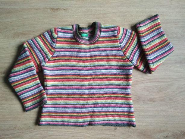 Kolorowy wełniany sweter United Colors of Benetton 2 latka
