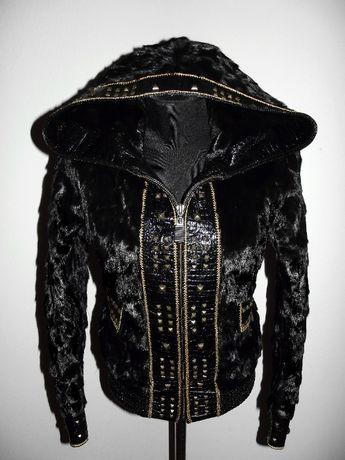 Кожаная куртка с норкой р.44-46 норковая куртка