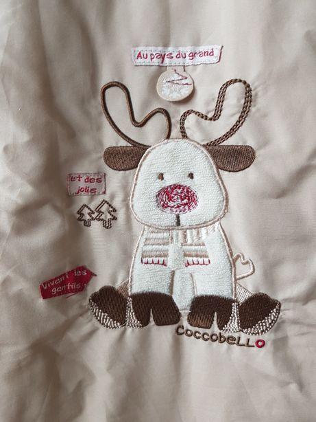 Cieplutki kremowy beż kombinezon zimowy Cocobello z reniferem roz. 80