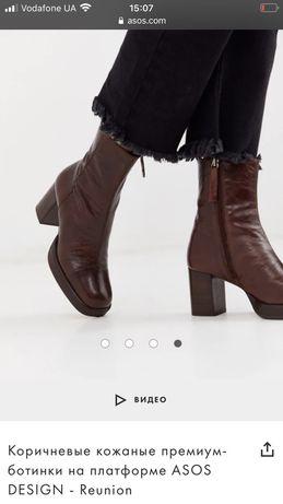 Кожаные ботинки на платформе asos design