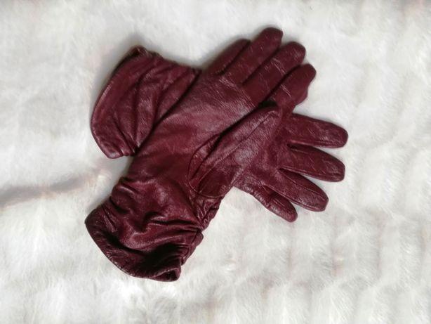 rękawiczki eko skóra czerwone wiśniowe