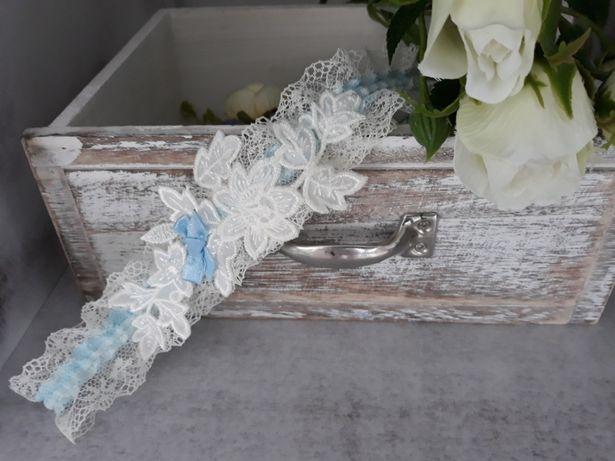 Podwiazka ślubna ecru