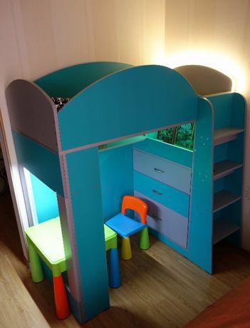 Кровать-Чердак детская, эксклюзив +МАТРАС+Тумба+Полка размер 70х140см