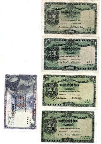 Notas de 500 reis e 50 centavos