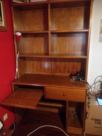 Secretária/estante em madeira de carvalho maciço