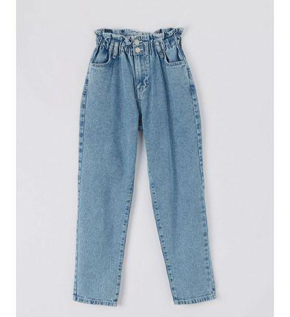 Paperbag spodnie jeansy falbanka S 36