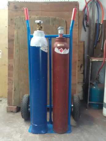 Zestaw butli tlen acetylen z wózkiem - pełne