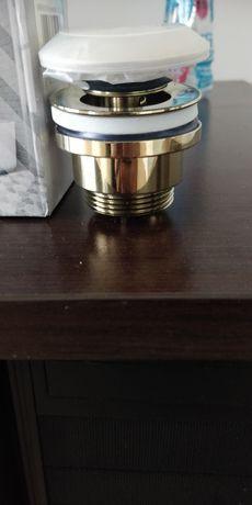 Korek do umywalki złoty