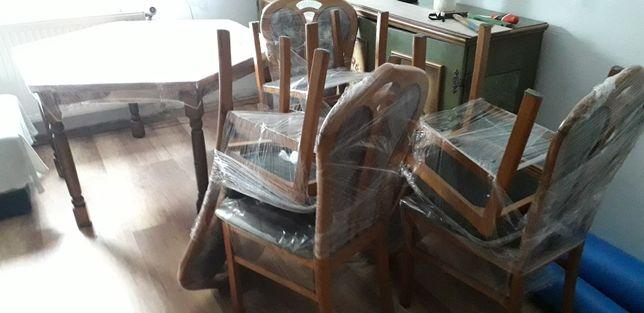 DĘBOWY STÓŁ+ 6szt.Krzeseł dębowe tapicerowane