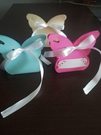 Pudełeczka motylki podziekowania dlaa gości ślub, komunia