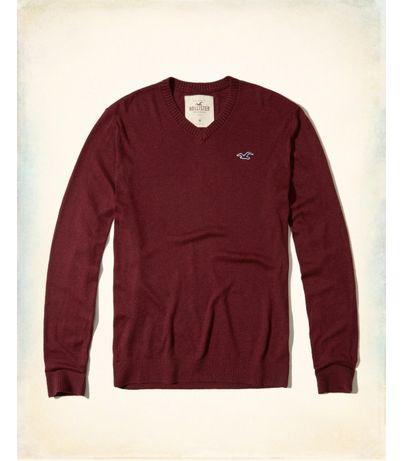 Sweter bordowy czerwony Hollister Abercrombie Slim burgundowy V neck