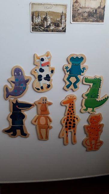 Деревянные магнитные пазлы Джеко Djeco Забавные животные