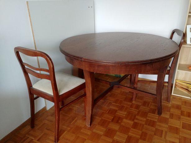 Stół, krzesła Art Deco drewniany