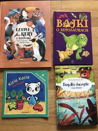 Książki kicia kocia, bajki o dinozaurach, baśnie, czaple kury.