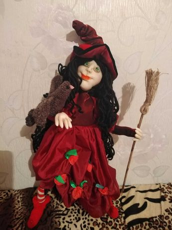Кукла ручной работы ведьма с птицей Леночка