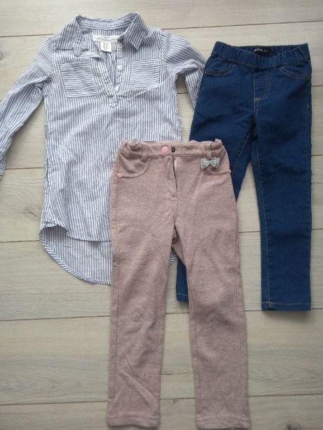 zestaw szmizjerka H&M, spodnie Reserved i Coccodrillo rozm 104