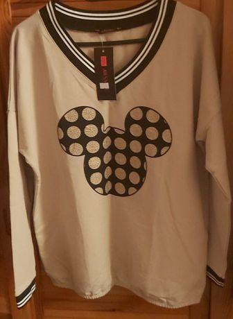 MIKI bluza bluzka dekolt V kamyczki beż nowa XL