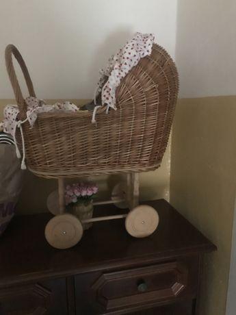 Wózek dla lalek wiklinowy