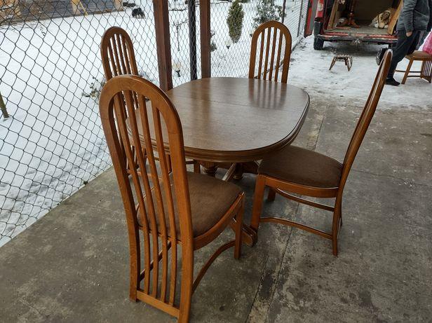 Śliczny masywny stół + 5 krzeseł, krzesła,DĘBOWY, stan bdb,DOWÓZ