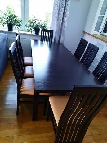 Stół do salonu w kolorze wenge z ośmioma krzesłami